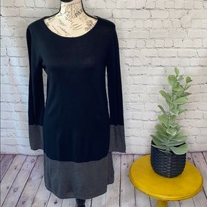 Philosophy black grey sweater dress color block L